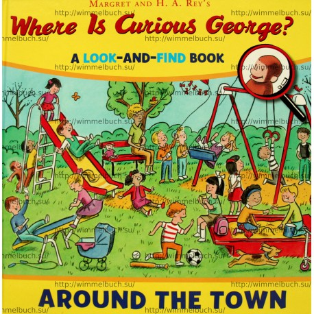 Where is Curious George? Around the town look and find