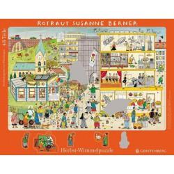 Wimmel-Rahmenpuzzle Herbst. Motiv Kindergarten